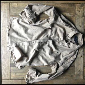 Men's button down tan shirt